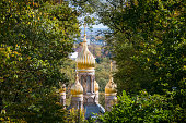 The golden domes of the Russian Orthodox Church of St. Elizabeth in the German city of Wiesbaden on the Neroberg