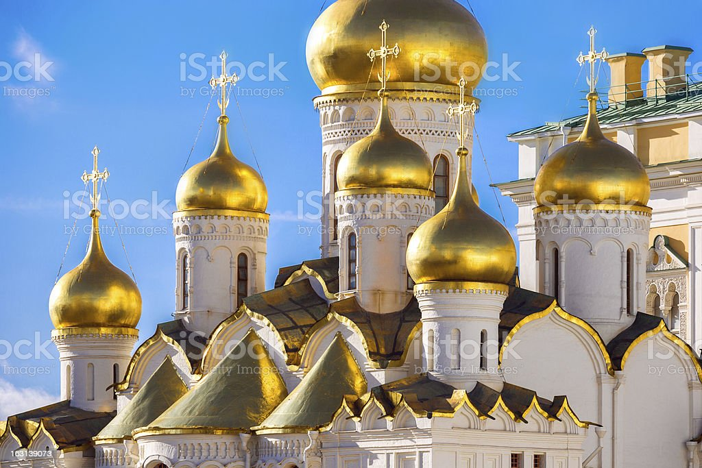 Golden domes of the Russian Church stock photo