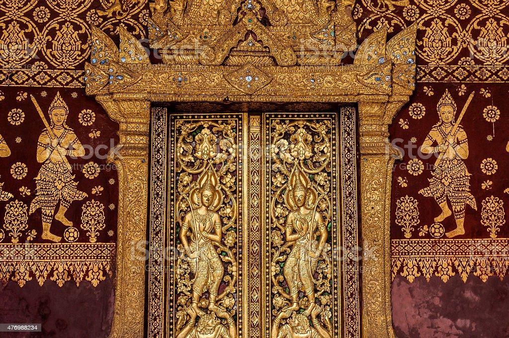 Golden door in Luang Prabang stock photo
