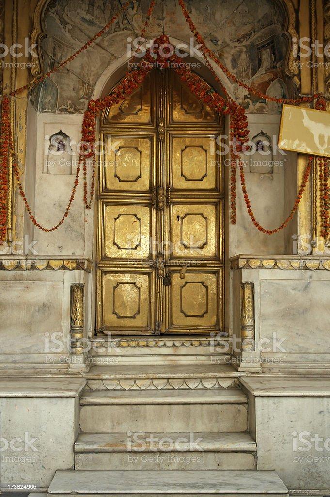 Golden Doors in Indian Temple royalty-free stock photo