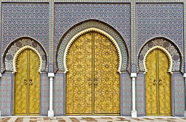 Golden porte del FES Palazzo reale - foto stock