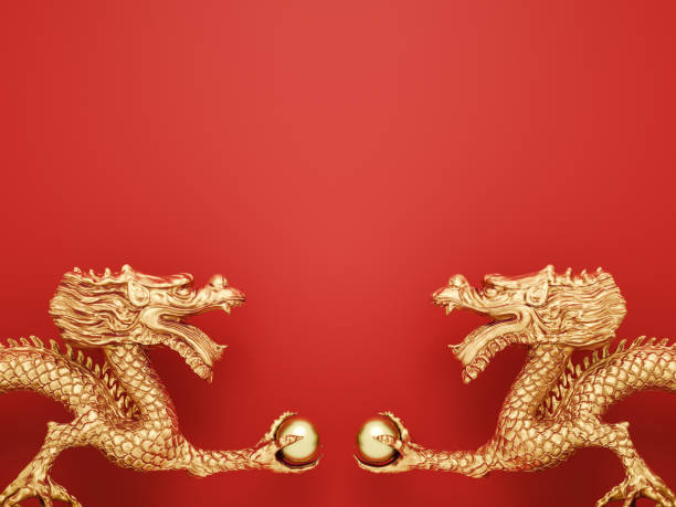 Golden Dragon on red background. stock photo