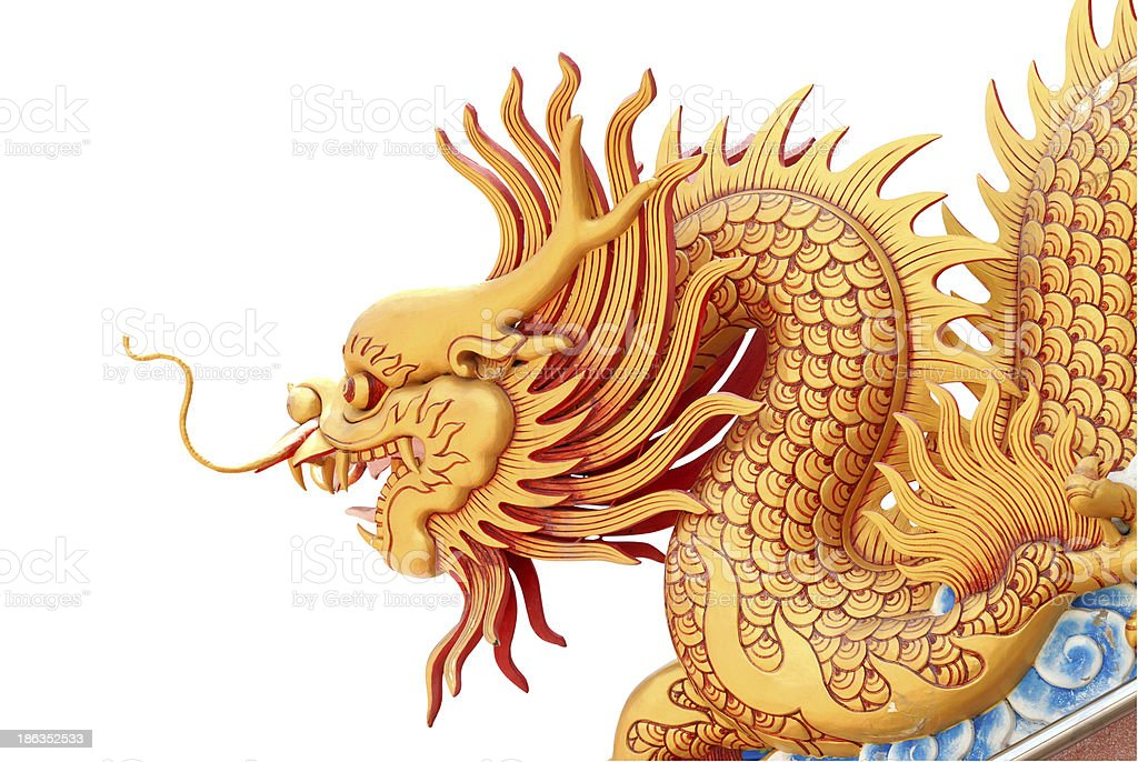 Golden dragon statue royalty-free stock photo
