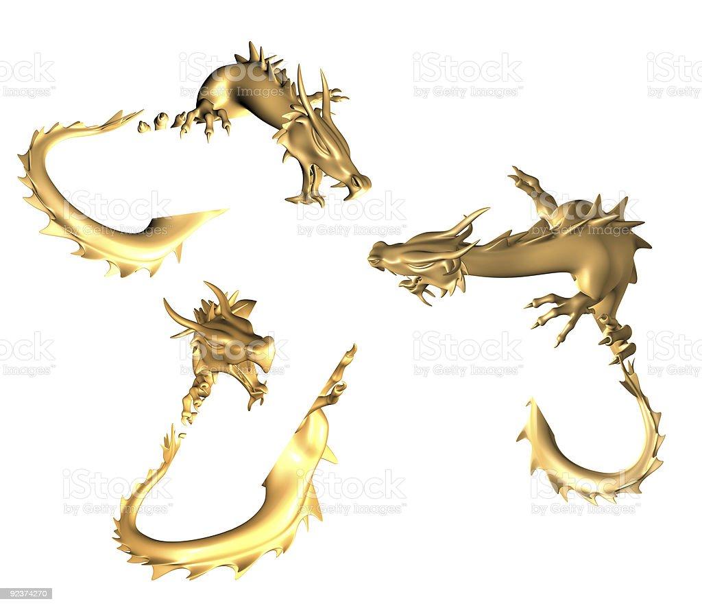 Golden dragons royalty-free stock photo