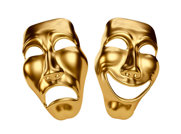 Golden Drama and Comedy Masks isolated on White stock photo