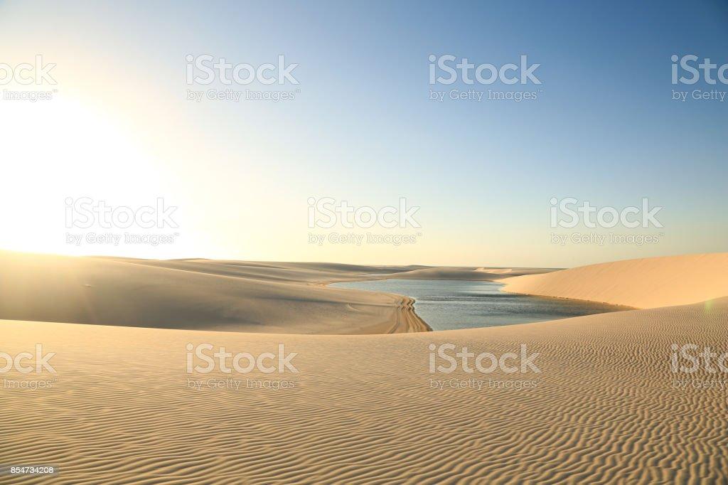 Golden dunes at the sunset of the lençois maranhenses stock photo
