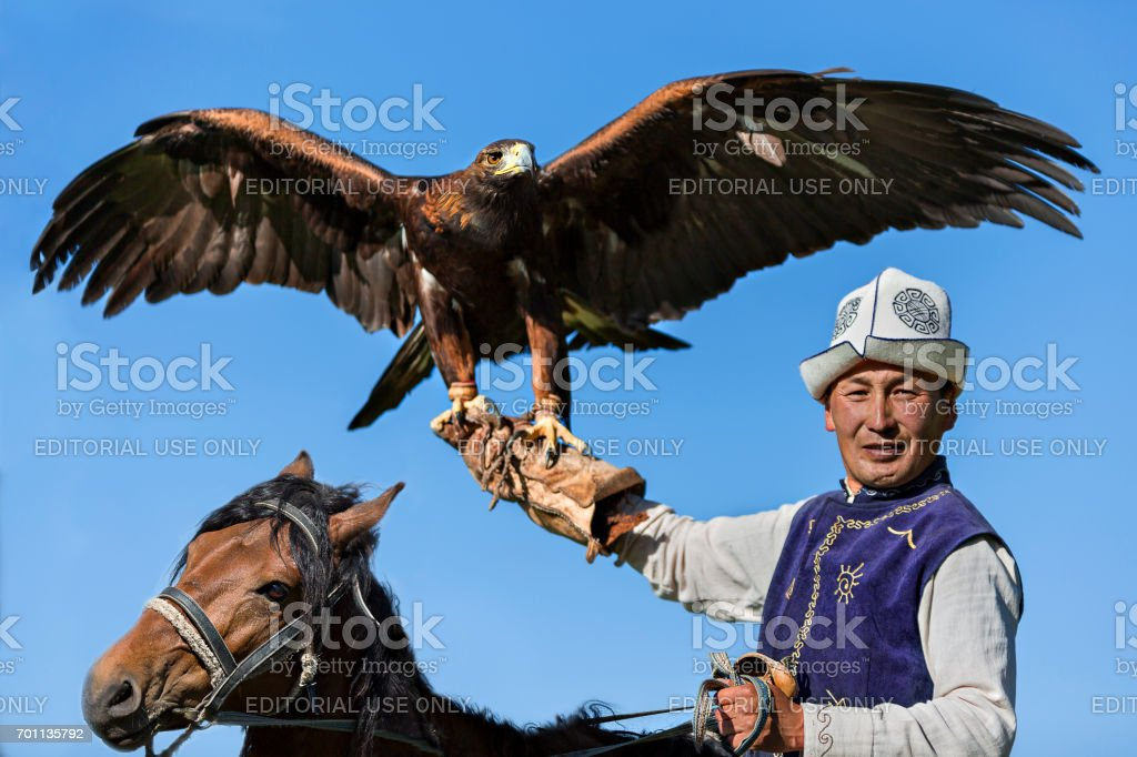 Golden Eagle and Kyrgiz eagle hunter, Issyk Kul, Kyrgyzstan. stock photo