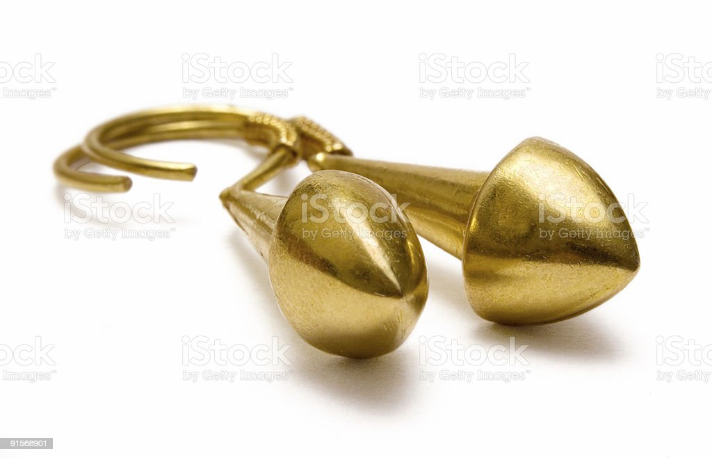 Golden Earrings Macro royalty-free stock photo
