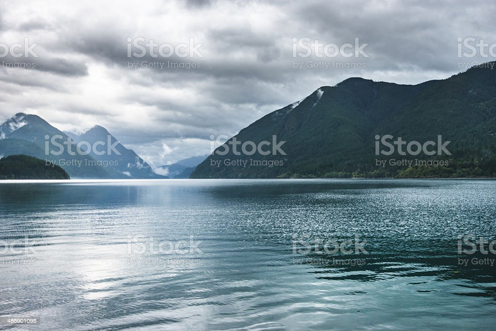 golden ears park lake landscape - british columbia stock photo