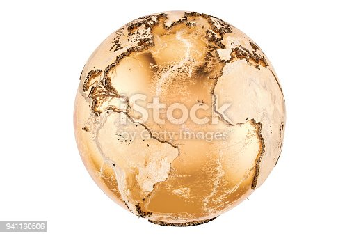 istock Golden Earth Globe, 3D rendering isolated on white background 941160506