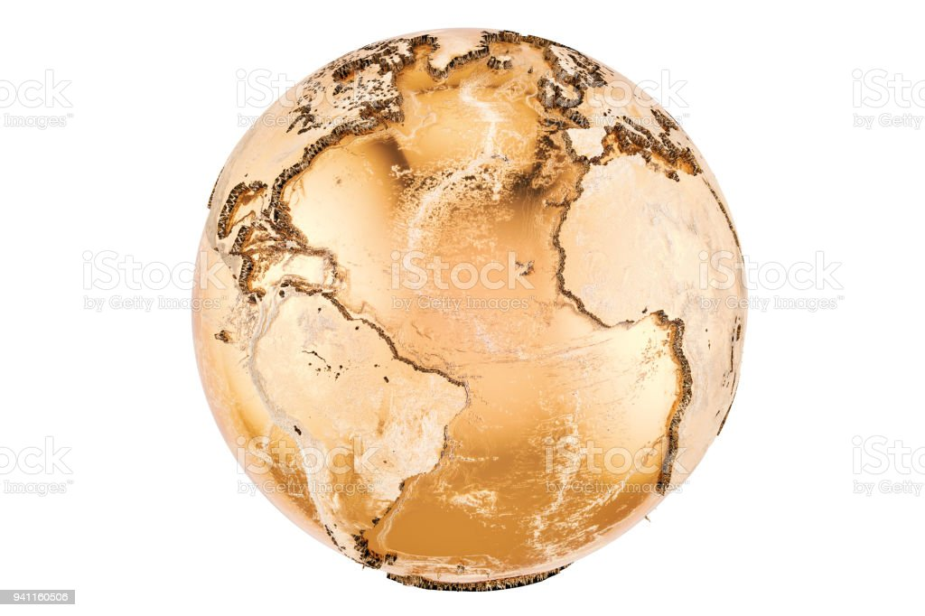 Golden Earth Globe, 3D rendering isolated on white background stock photo
