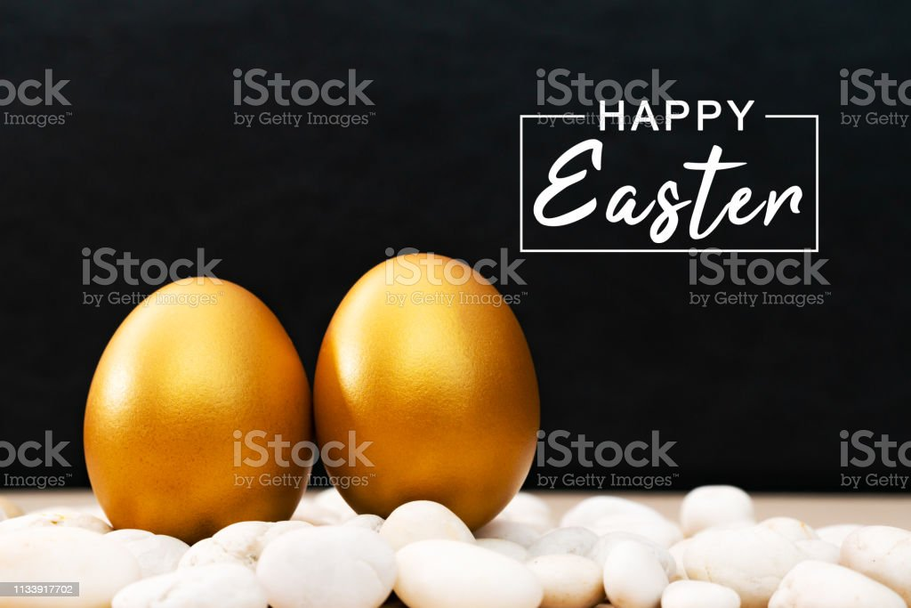 Golden Easter egg, happy Easter sunday hunt holiday decorations