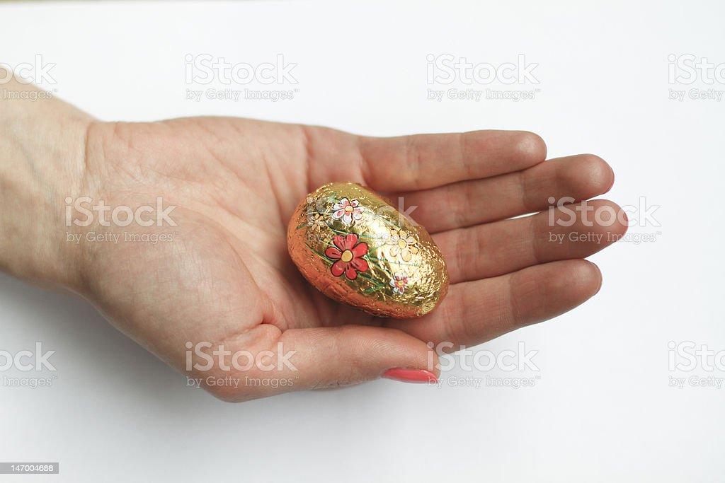 Golden Easter egg stock photo