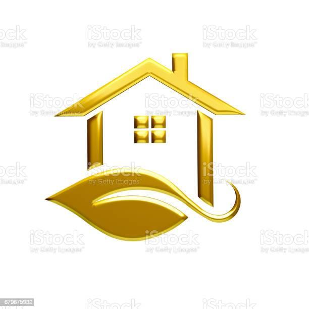 Golden eco house logo illustration graphic design 3d render picture id679675932?b=1&k=6&m=679675932&s=612x612&h=jzgvriqu0vdhhn3lj2odzkevffbywcfk vuzileu9b0=