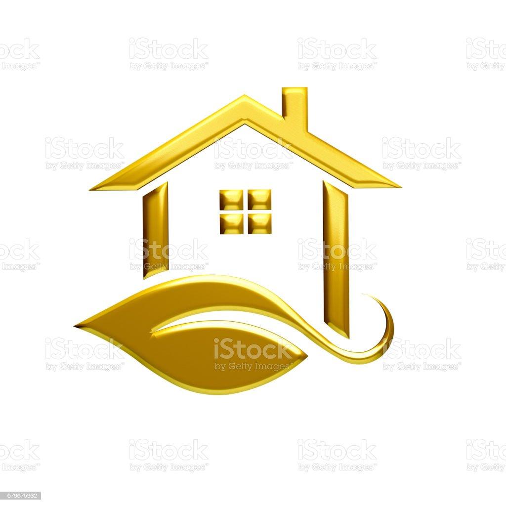 Golden Eco House Logo Illustration Graphic Design. 3D render stock photo