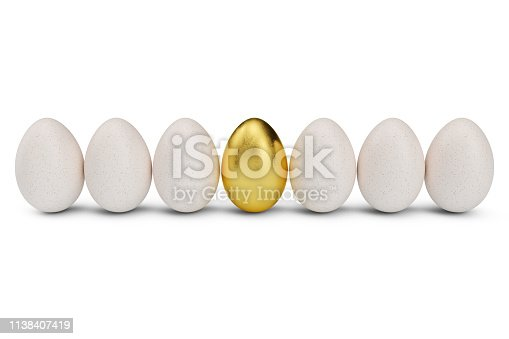 Golden egg around white eggs in row. Golden egg closeup. Golden egg as a sign of wealth, luxury. Egg as a symbol of easter, holiday, weekend. 3D illustration