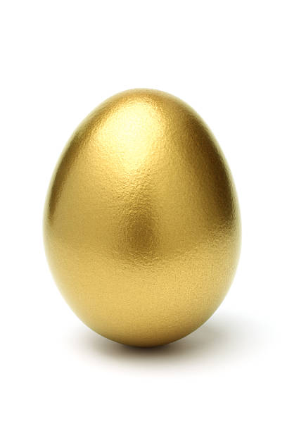 Golden Egg on White Background stock photo