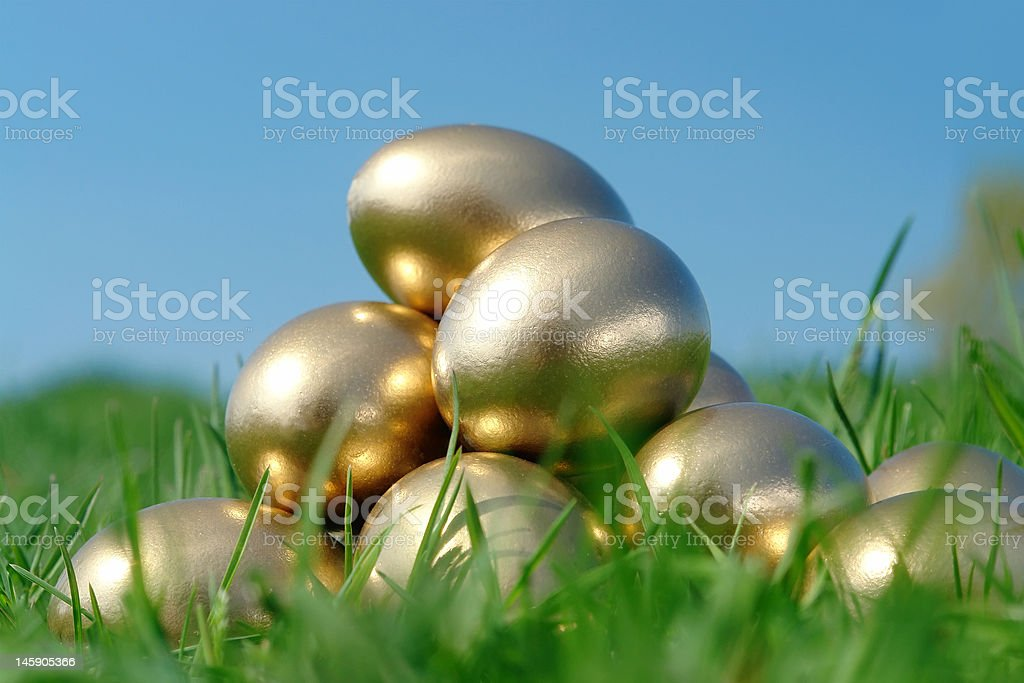 Golden egg pyramid royalty-free stock photo