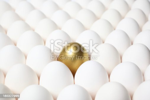 istock Golden Egg Standing Out from a Crowd of Ordinary Eggs 185327999