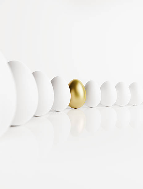 Golden Egg Standing Out from a Crowd of Ordinary Eggs Golden egg standing out from a crowd of ordinary eggs. The eggs are on a reflective white background. Clipping path is included. nest egg stock pictures, royalty-free photos & images