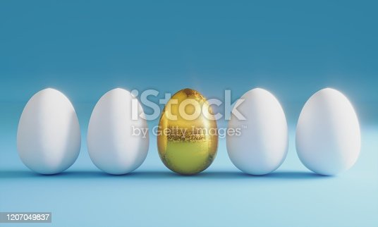 Golden egg in the middle of white eggs, symbolizing individuality concept. ( 3d render )