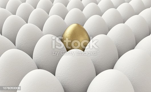 Unique golden egg among normal eggs standing out from the crowd.