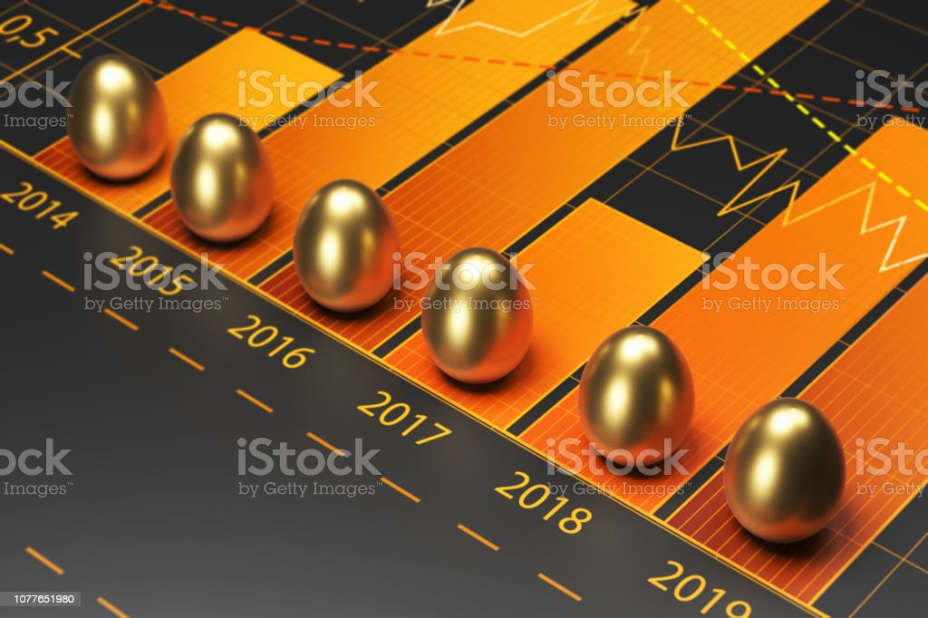 Golden eggs and finance graph. stock photo