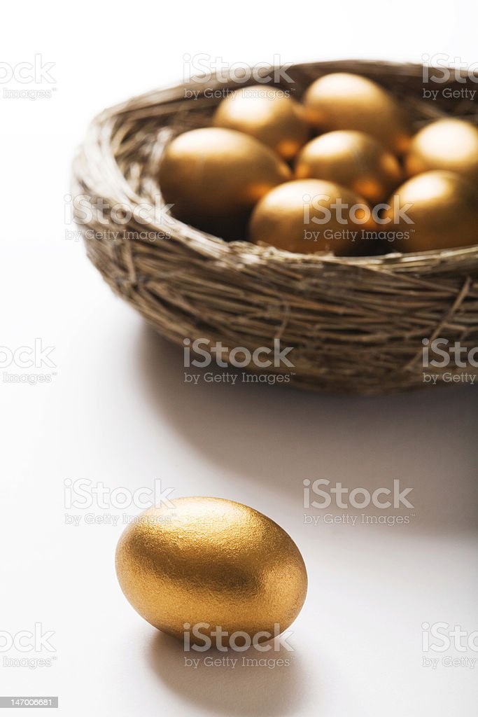 Golden Eggs In Nest royalty-free stock photo