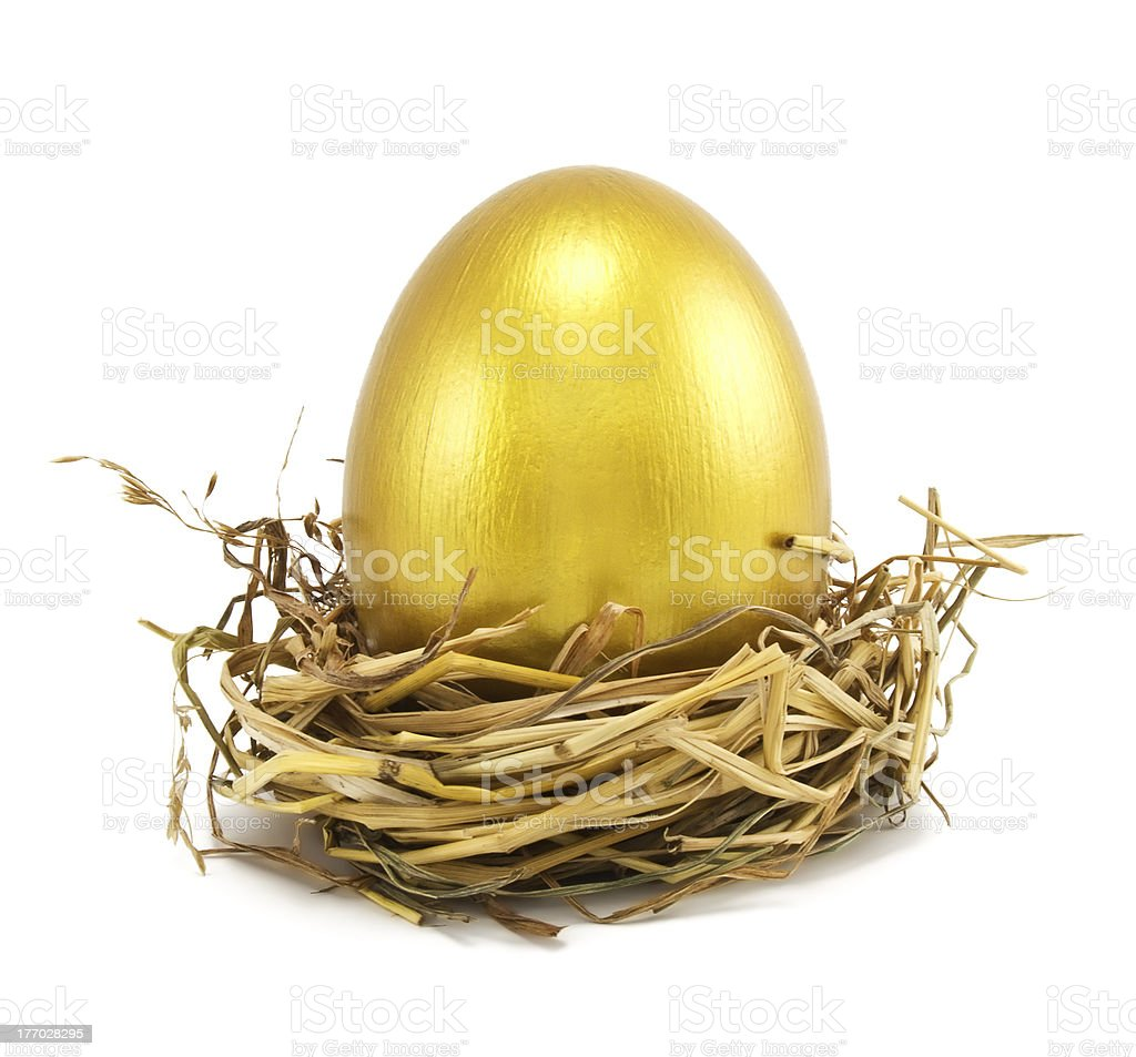 golden eggs in nest stock photo