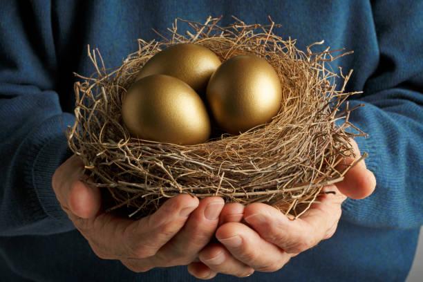 Golden Eggs Senior Citizen holding three golden eggs in a bird's nest. nest egg stock pictures, royalty-free photos & images