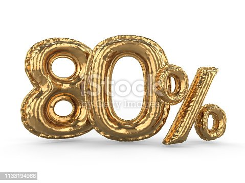 istock Golden eighty percent made of inflatable balloons. Percent set. 3D 1133194966