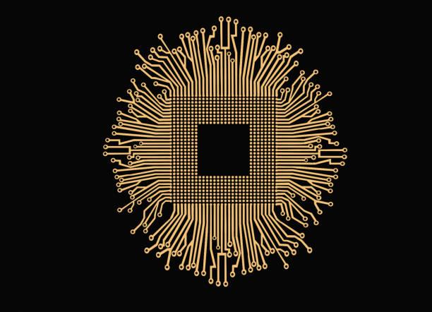 gyllene elektronik krets och cpu isolerad på svart bakgrund - brain magnifying bildbanksfoton och bilder