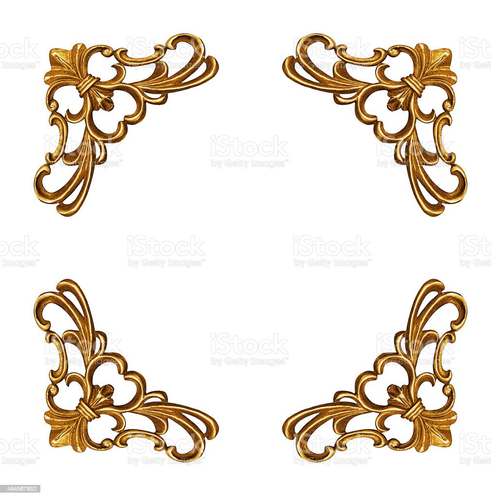 Golden elements of carved frame stock photo