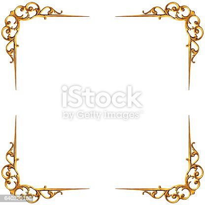 istock Golden elements of carved frame 640220186