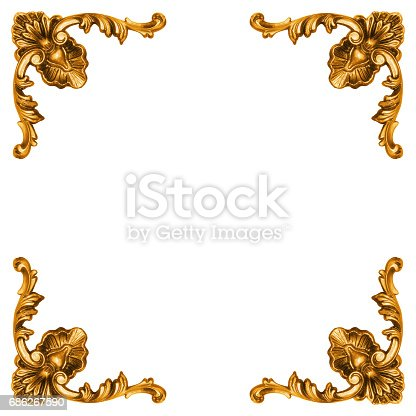 istock Golden elements of carved frame 686267590
