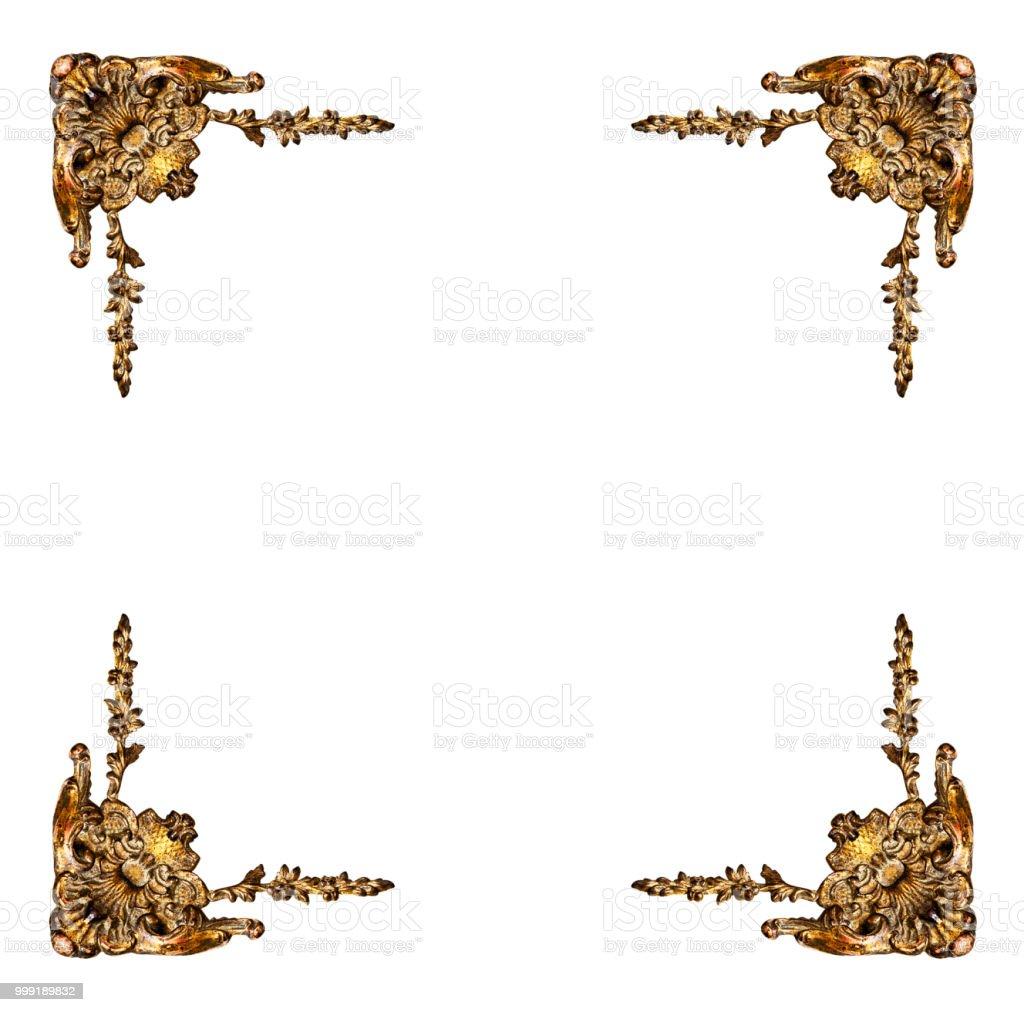 Goldene Elemente der geschnitzten Rahmen – Foto
