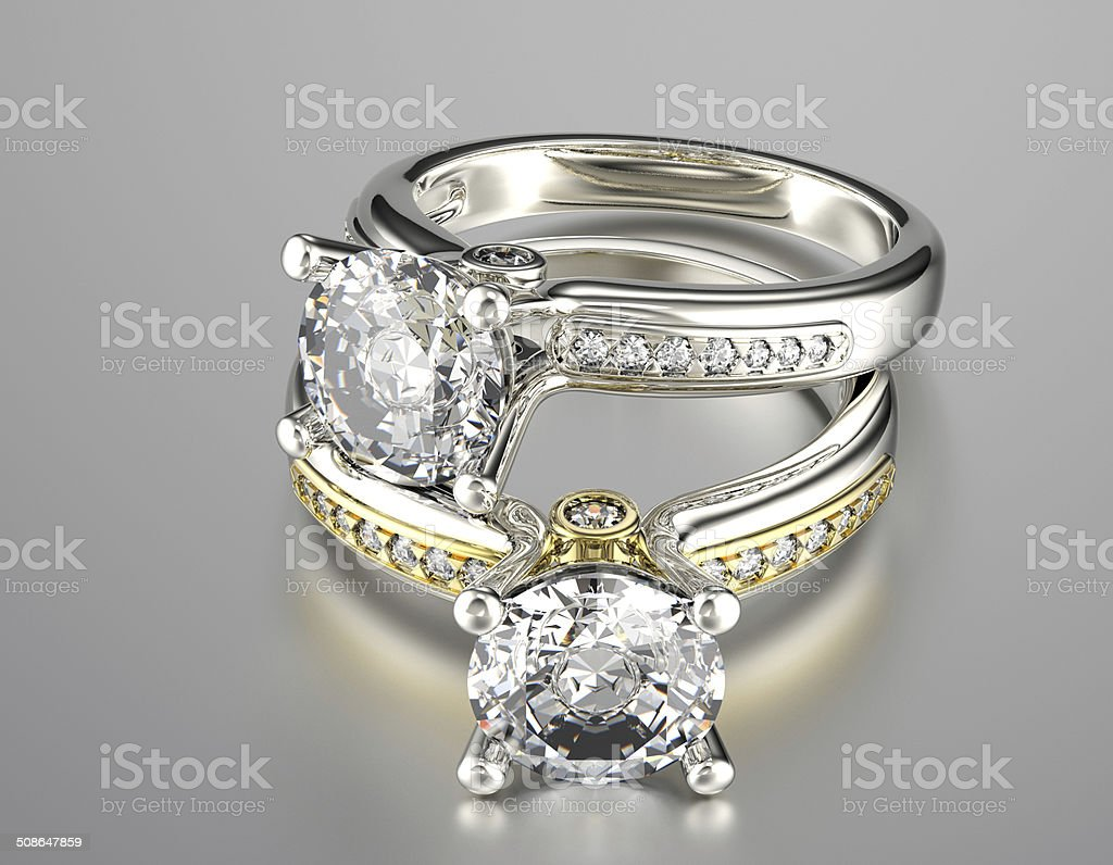 Golden Engagement Ring with  Jewelry gemstone stock photo
