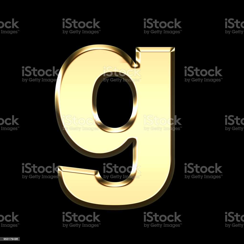 golden english letter g on black background stock photo