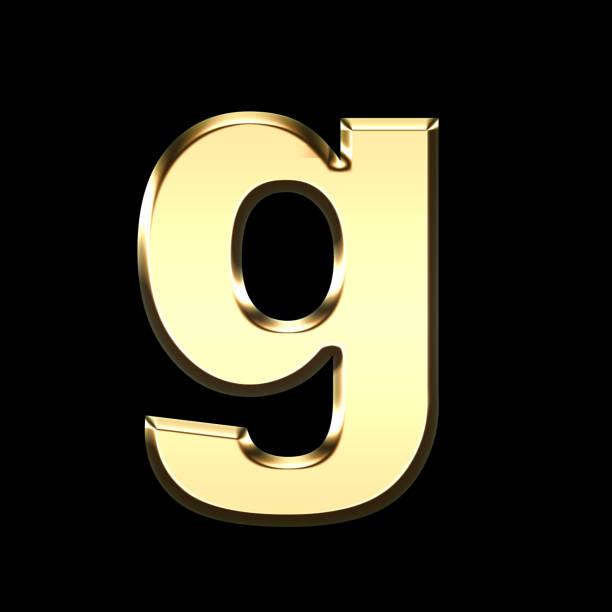golden english letter g on black background stock photo