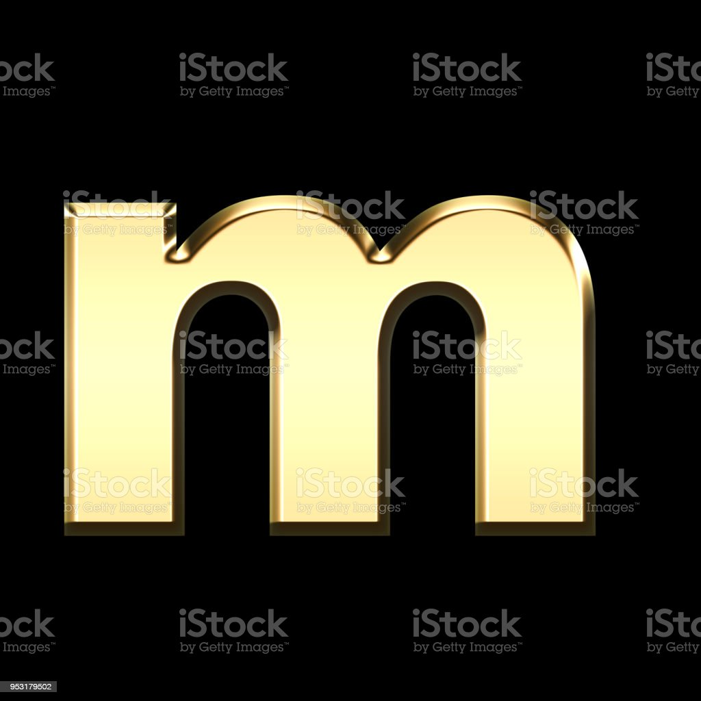 golden english letter m on black background stock photo