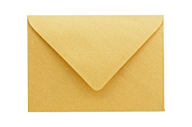 Golden envelope isolated.