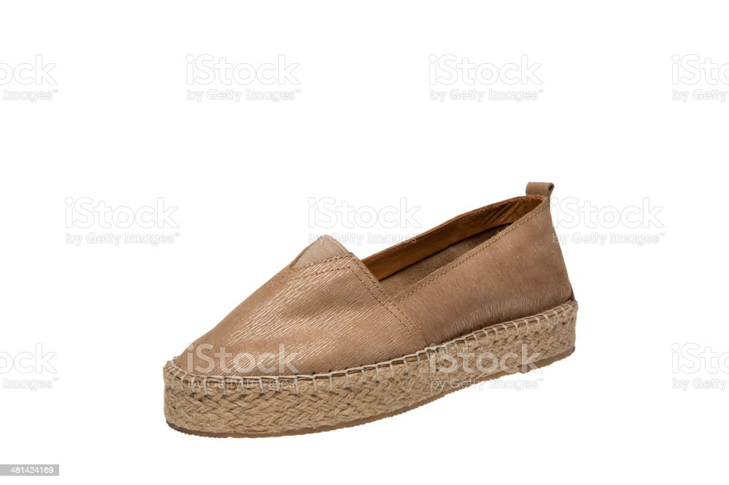 Golden Espadrilles royalty-free stock photo