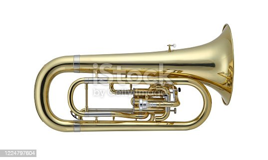 istock Golden Euphonium, Euphoniums, Brass Music Instrument Isolated on White background 1224797604