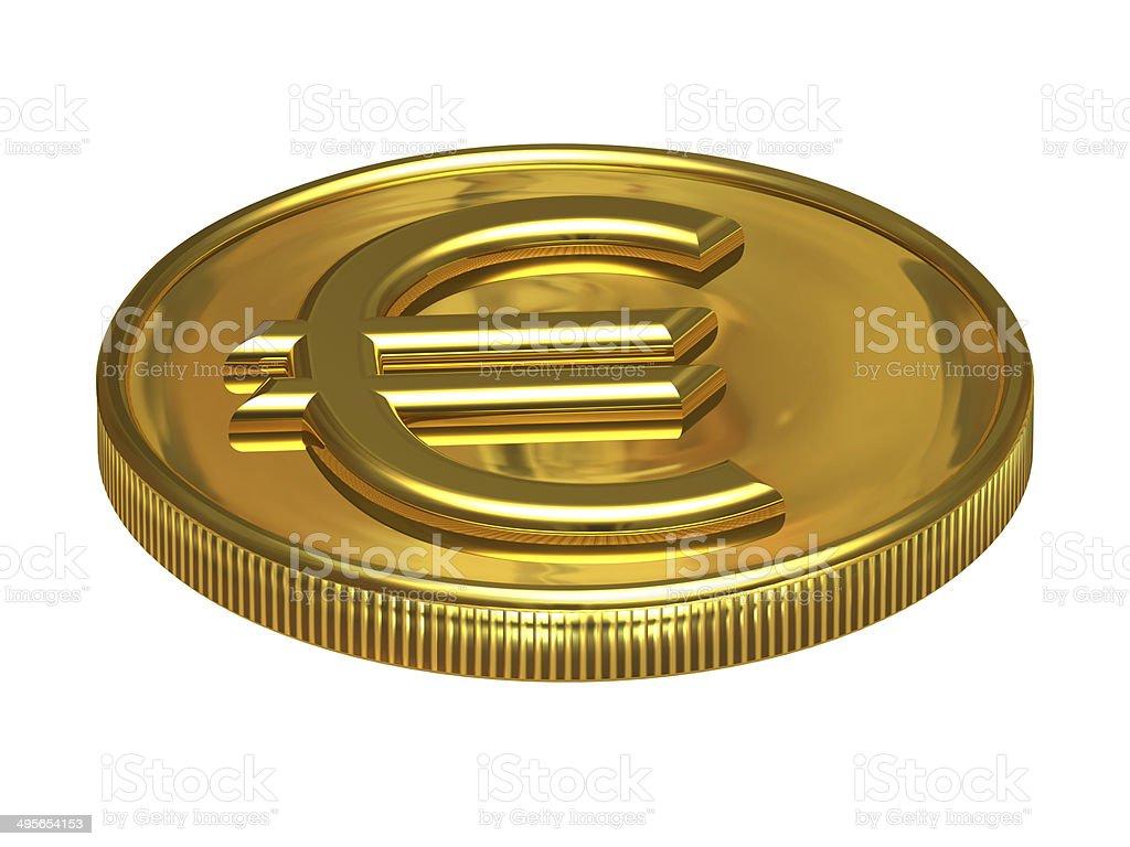 Golden euro coin royalty-free stock photo