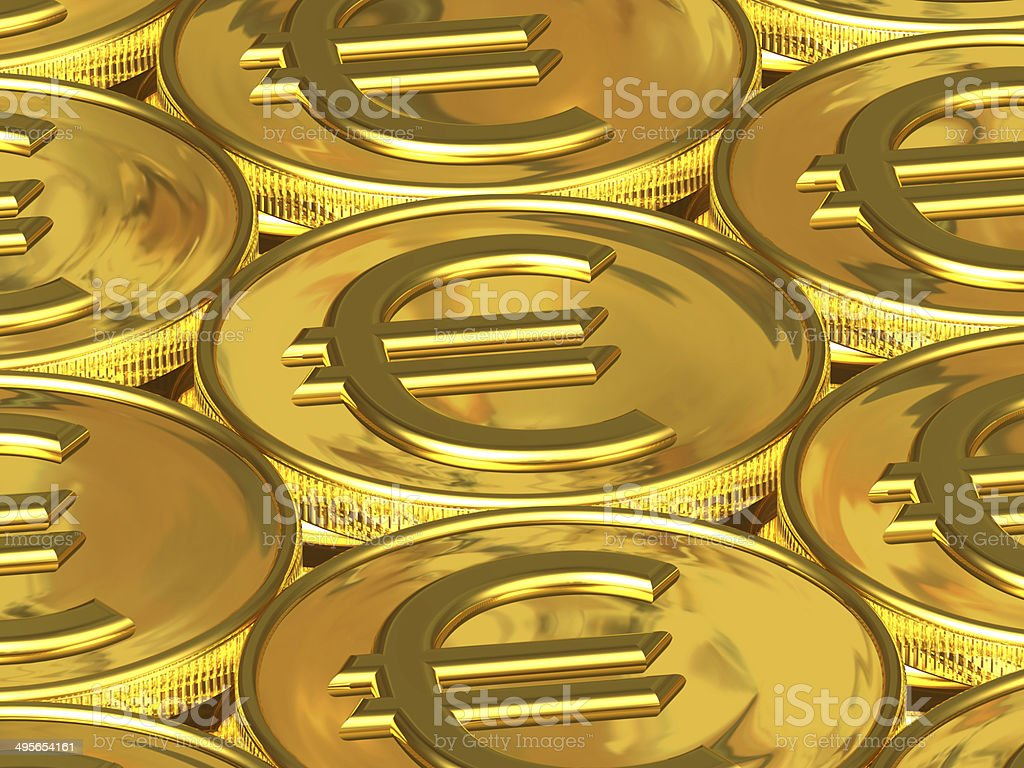 Golden euro coins royalty-free stock photo