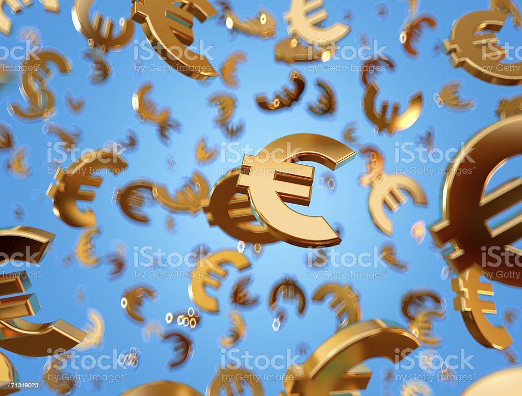 Golden euro signs raining. stock photo
