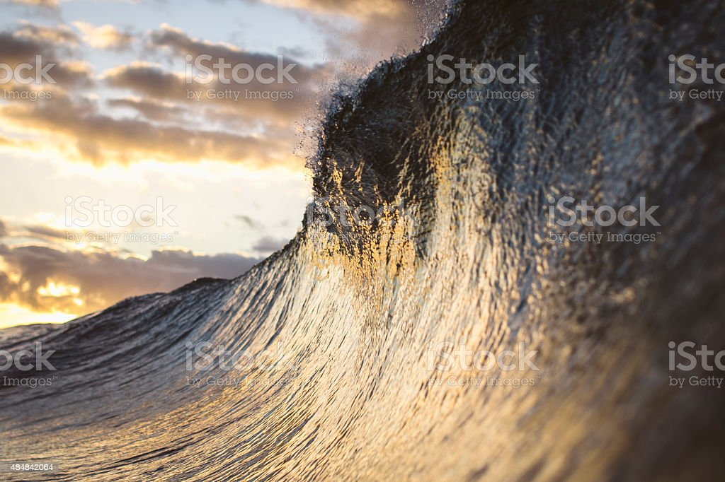 Golden Face of a Wave stock photo