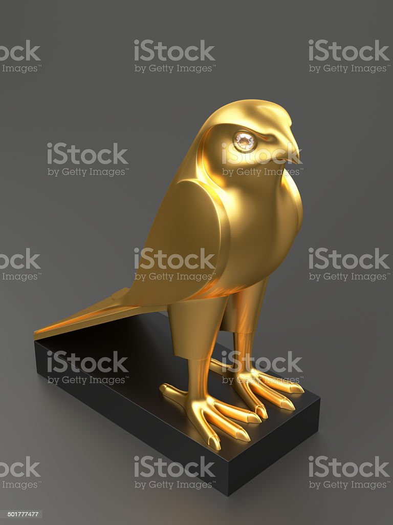 Golden Falcon Statue XL stock photo
