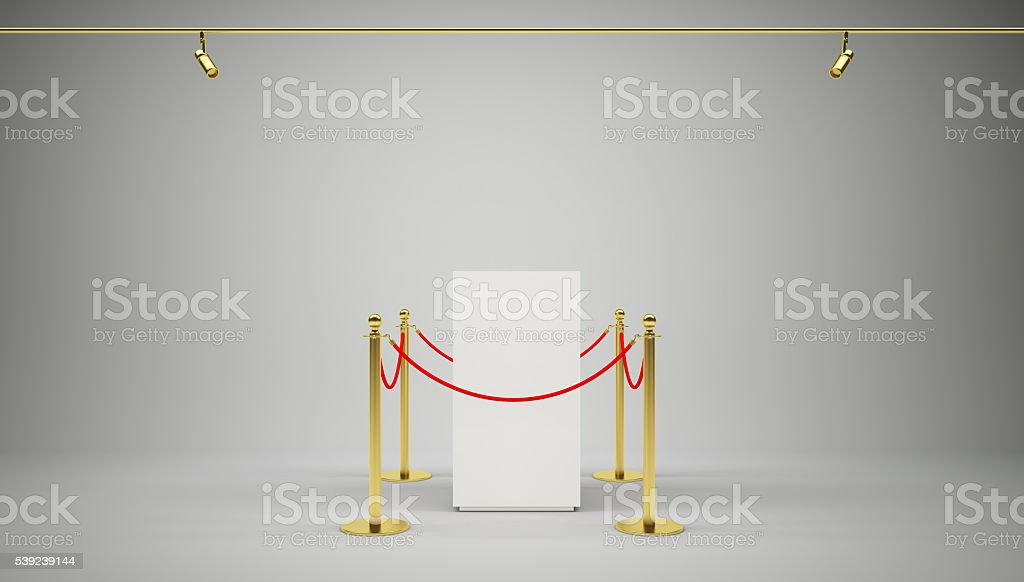 Golden fence, stanchion with red barrier rope royalty-free stock photo