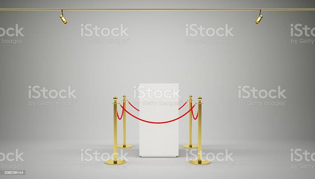 Dorado valla, soporte de rojo de barrera de cuerda foto de stock libre de derechos